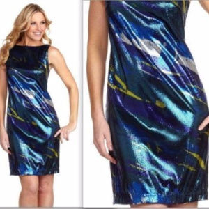 NWT Rebecca Moses blue sequined party dress sz 8